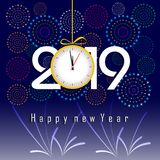 Firework displayed for Happy New year 2019 and holidays concept.  Royalty Free Stock Photography