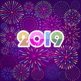 Firework displayed for Happy New year 2019 and holidays concept.  Stock Images