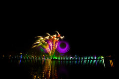 Firework displays and fireworks. Fireworks Celebration Event.Shiny surface reflects light. Nong Prajak park Udon Thani, Thailand Stock Photos