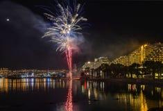 Firework in Eilat - premier tourism resort in Israel Stock Image