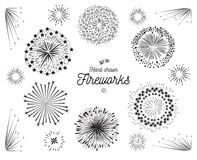 Firework element hand drawn vector set Stock Photography