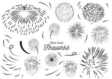 Firework element hand drawn vector set design. Royalty Free Stock Photos
