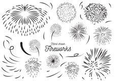 Firework element hand drawn vector set design. Royalty Free Stock Photos