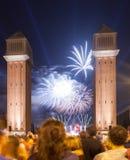 Firework in ending of La Merce Festival Stock Images