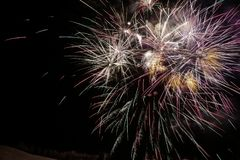 Beautiful Fireworks Explosion. Firework explosion in a dark night Royalty Free Stock Photo