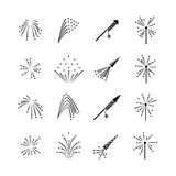 Firework explosion effects vector set. Firework celebration, burst firework, flash explosion firework illustration Stock Image