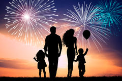 Firework explosion. Family look the fireworks explosion Stock Images