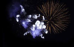 Firework explosion in the night sky Stock Photo