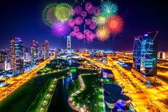 Firework festival at Central Park in Incheon, South Korea. Royalty Free Stock Image