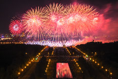 Firework festival. The International Firework Festival in Moscow, you can see explosions, different coors, fire reflections in water and thousands of people with Stock Photography