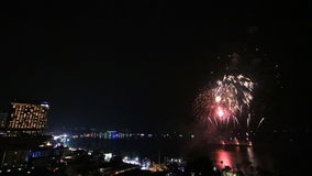 Firework Festival Over Pattaya City Beach Of Thailand stock footage