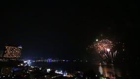 Firework Festival Over Pattaya City Beach Of Thailand stock video footage