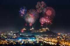 Firework festival in phetchaburi province, thailand. Royalty Free Stock Images