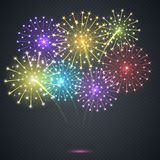 Firework. Festive explosion on a transparent background. Illustration Stock Photo