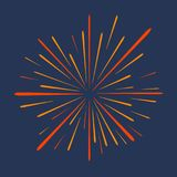 Firework. Festive salute, celebration explosion, anniversary bursting isolated on dark background. Vector. Firework. Festive salute, celebration explosion Royalty Free Stock Images