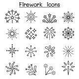 Firework & Firecracker icon set in thin line style. Firework Stock Photos