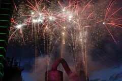 Firework. S behind a blast furnace and stell mill Royalty Free Stock Images