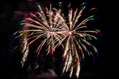 Firework fireworks celebration red blue green peaks Royalty Free Stock Photos