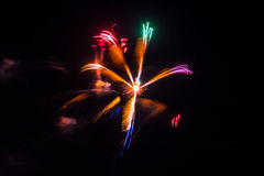 Firework fireworks celebration star form red green purple blue g Stock Images