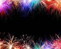 Fireworks Border. Colorful Fireworks border with copy space stock photo