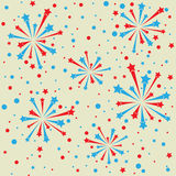 Firework frame. Yellow abstract background with blue and red fireworks. eps10 Royalty Free Stock Images