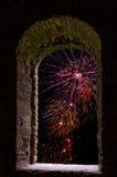 Firework framed stone window Royalty Free Stock Photography