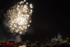 Firework in front of the cathedral of Cologne Stock Photography