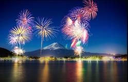 Firework at Fuji mountain. Fuji firework at kawaguchi lake around Fuji mountainn Japan stock photo