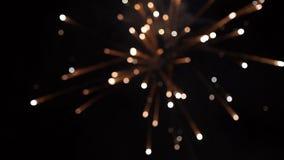 firework Fuoco d'artificio luminoso celebratorio in un cielo notturno Fuochi d'artificio nel cielo notturno di Mosca variopinto Immagine Stock Libera da Diritti