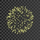 Firework gold bursting isolated transparent background. Beautiful night fire, explosion decoration, holiday, Christmas. New Year. Symbol festival, American 4th Royalty Free Stock Photography