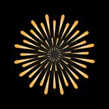 Firework in gold color. Symbol of holiday. Bright decoration for any holidays. Vector Royalty Free Stock Photo