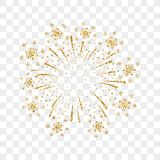 Firework gold isolated. Beautiful golden firework on background. Bright decoration Christmas card, Happy New Year celebration, anniversary, festival. Flat Royalty Free Stock Images