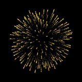 Firework gold isolated. Beautiful golden salute on black background. Bright firework decoration for Christmas card. Happy New Year celebration, anniversary Royalty Free Stock Image
