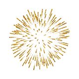 Firework gold isolated. Beautiful golden salute on white background. Bright firework decoration for Christmas card. Happy New Year celebration, anniversary Stock Photos
