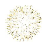 Firework gold isolated. Beautiful golden salute on white background. Bright firework decoration for Christmas card. Happy New Year celebration, anniversary Stock Image