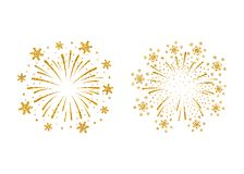 Firework gold isolated. Beautiful golden firework on white background. Bright decoration for Christmas card, Happy New Year celebration, anniversary, festival Royalty Free Stock Image