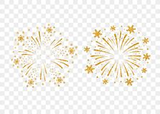 Firework gold isolated. Fireworks gold set isolated. Beautiful golden firework on background. Bright decoration Christmas card, Happy New Year celebration Royalty Free Stock Photography