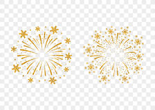 Firework gold isolated. Fireworks gold set isolated. Beautiful golden firework on background. Bright decoration Christmas card, Happy New Year celebration Stock Photos