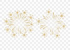 Firework gold isolated. Fireworks gold set isolated. Beautiful golden firework on background. Bright decoration Christmas card, Happy New Year celebration Royalty Free Stock Photo