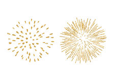 Firework gold isolated set. Fireworks set gold isolated. Beautiful golden fireworks on white background. Bright decoration Christmas card, Happy New Year Stock Image