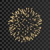 Firework gold sparkle isolated transparent background. Beautiful golden fire, explosion decoration, holiday, Christmas. New Year, birthday. Symbol festival Stock Photos