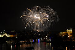 Firework. Great New Year Firework in Prag 2014 Stock Photo