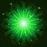 Firework green. Firework, holiday background of bright green colors on black, for web design. Eps10, contains transparencies Royalty Free Stock Photo