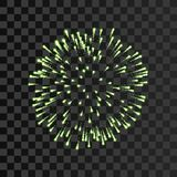 Firework green bursting isolated transparent background. Beautiful night fire, explosion decoration, holiday, Christmas. New Year. Symbol festival, American Stock Photo