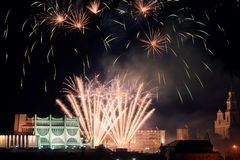 Firework in Grodno Belarus. And drama Theater, historic centre of the town stock image