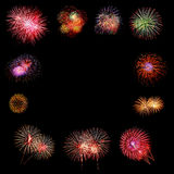 Firework Group on black background Stock Images