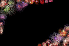 Firework Group black background Royalty Free Stock Image