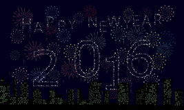 2016 firework. Happy new year 2016,firework on the sky royalty free illustration