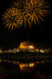 Firework Ho kham luang northern thai style building in Royal Flora temple ratchaphreukin Chiang Mai,Thailand Royalty Free Stock Photography