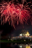 Firework on Ho Kum Luang in Chiang Mai Royalty Free Stock Images
